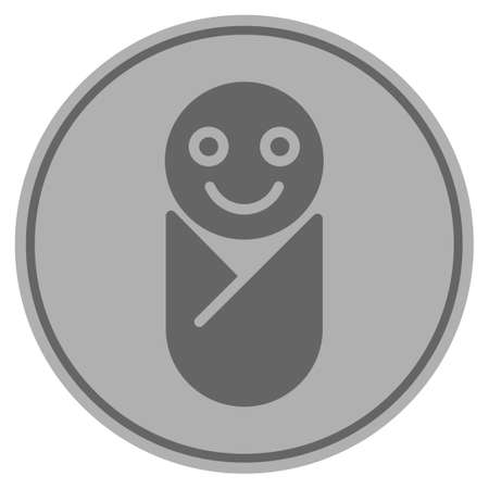Newborn silver coin icon. Vector style is a silver gray flat coin symbol. Illustration