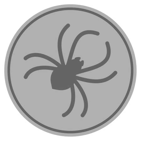 Parasite Spider silver coin icon. Vector style is a silver gray flat coin symbol.