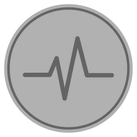 Pulse silver coin icon. Vector style is a silver grey flat coin symbol. Çizim