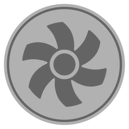 Rotor silver coin icon. Vector style is a silver grey flat coin symbol.