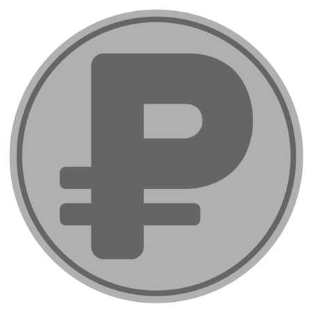 Rouble silver coin icon. Vector style is a silver grey flat coin symbol.