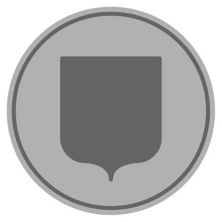 シールドガードシルバーコインアイコン。ベクトルスタイルはシルバーグレーのフラットコインシンボルです。