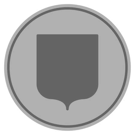 Shield Guard silver coin icon. Vector style is a silver grey flat coin symbol.
