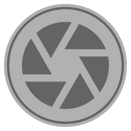 Shutter silver coin icon. Vector style is a silver gray flat coin symbol.