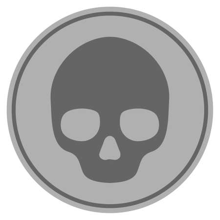 Skull silver coin icon. Vector style is a silver gray flat coin symbol. Vettoriali