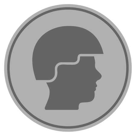 Icône de pièce d'argent casque soldat. Le style de vecteur est un symbole de pièce plate gris argenté. Banque d'images - 92468243