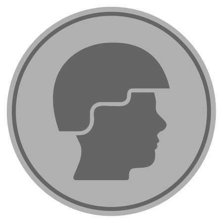 Soldier Helmet silver coin icon. Vector style is a silver grey flat coin symbol.