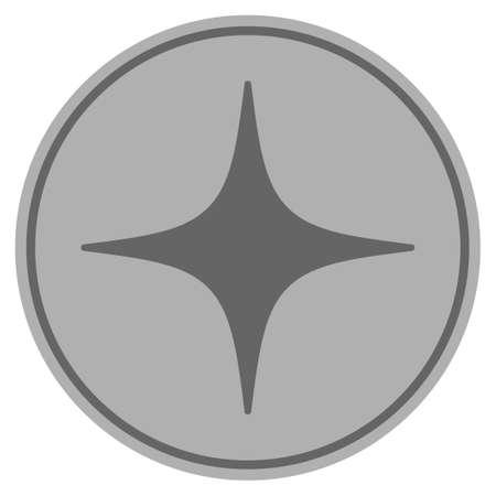 공간 스타 실버 동전 아이콘입니다. 벡터 스타일은 은색 회색 평면 동전 기호입니다.