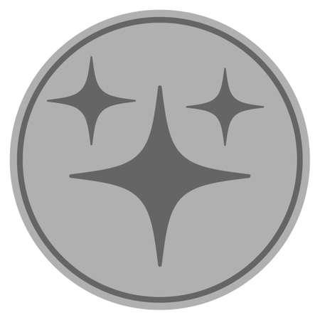 スペーススターズシルバーコインアイコン。ベクトルスタイルは、シルバーグレーのフラットコインシンボルです。