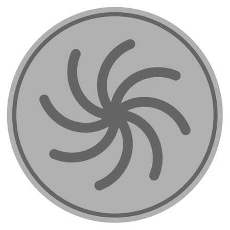 Spiral silver coin icon. Vector style is a silver gray flat coin symbol.