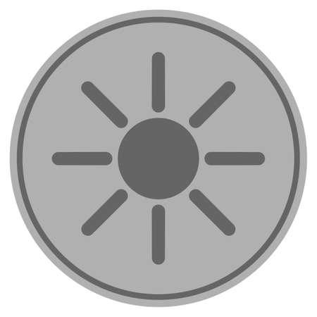 Sun silver coin icon. Vector style is a silver gray flat coin symbol.