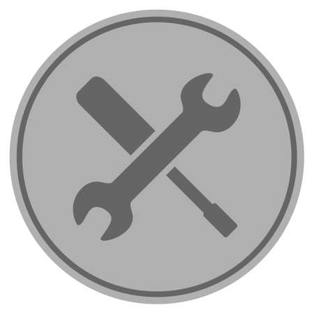 Tools silver coin icon. Vector style is a silver grey flat coin symbol. Illustration