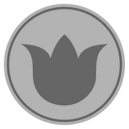 Tulip Flower silver coin icon. Vector style is a silver grey flat coin symbol.