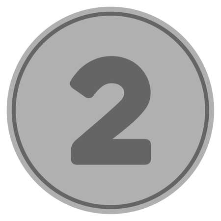 Two silver coin icon. Vector style is a silver gray flat coin symbol.