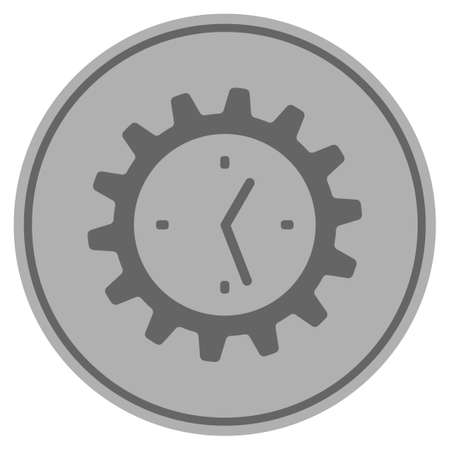 Work Time Gear silver coin icon. Vector style is a silver gray flat coin symbol.