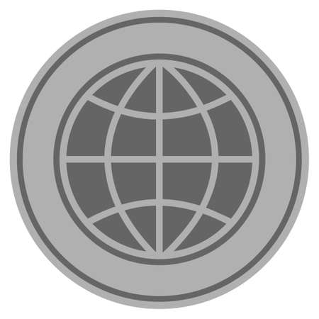 World silver coin icon. Vector style is a silver gray flat coin symbol.