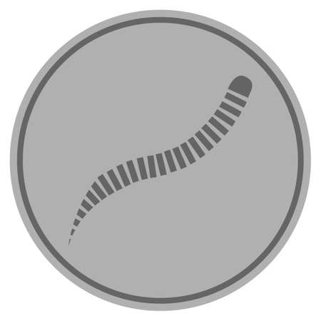 Worm Parasite silver coin icon. Vector style is a silver grey flat coin symbol. Ilustrace