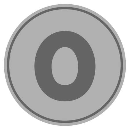 Zero silver coin icon. Vector style is a silver grey flat coin symbol.