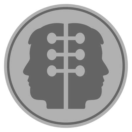 Dual Head Interface silver coin icon. Raster style is a silver grey flat coin symbol. Stok Fotoğraf