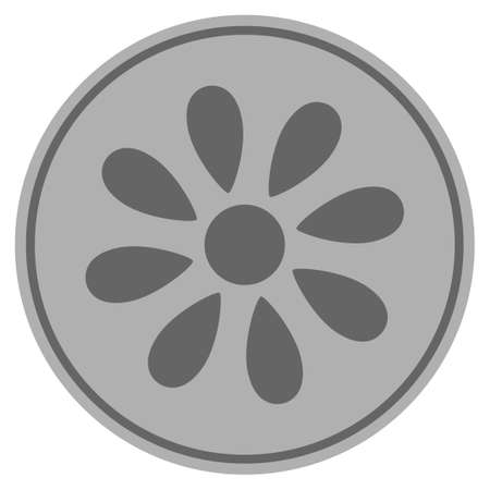 Flower silver coin icon. Raster style is a silver gray flat coin symbol.