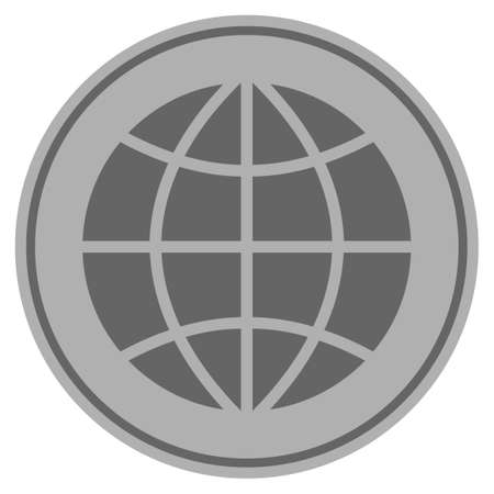 Planet Globe silver coin icon. Raster style is a silver grey flat coin symbol.