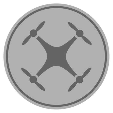 Quadcopter silver coin icon. Raster style is a silver gray flat coin symbol.