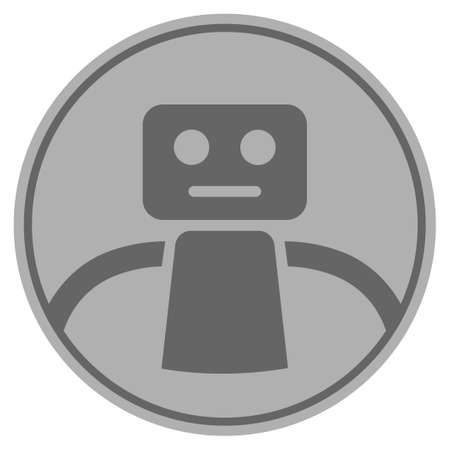 Robot silver coin icon. Raster style is a silver grey flat coin symbol. Stock Photo