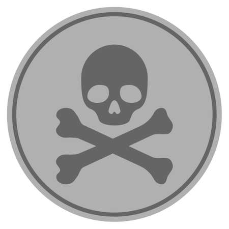 Skull And Crossbones silver coin icon. Raster style is a silver grey flat coin symbol. Foto de archivo