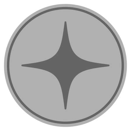 Space Star silver coin icon. Raster style is a silver gray flat coin symbol. Stock Photo