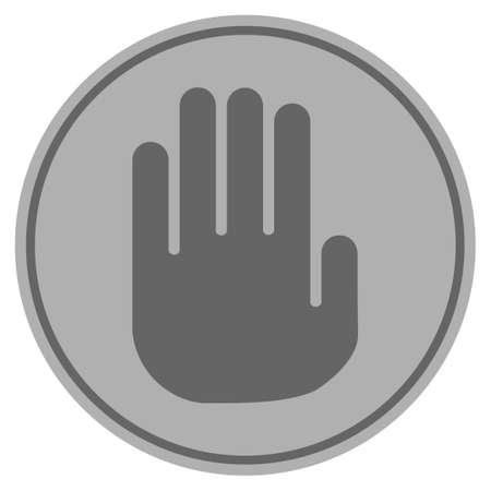 Stop Hand silver coin icon. Raster style is a silver gray flat coin symbol.