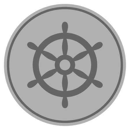 Boat Steering Wheel silver coin icon. Raster style is a silver grey flat coin symbol.