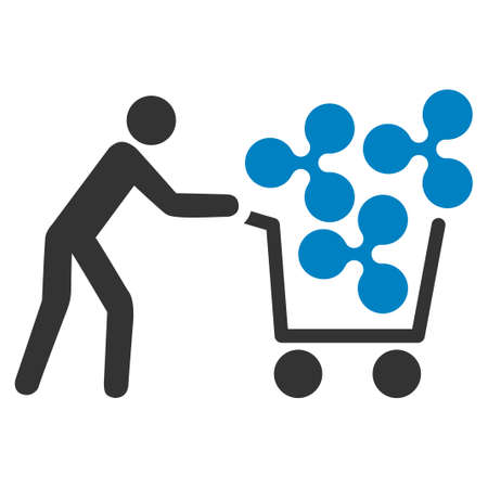 Customer Cart Ripple flat raster icon. An isolated icon on a white background.