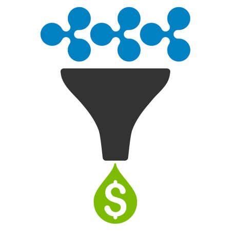 Ripple Dollar Sales Funnel flat raster pictograph. An isolated icon on a white background.