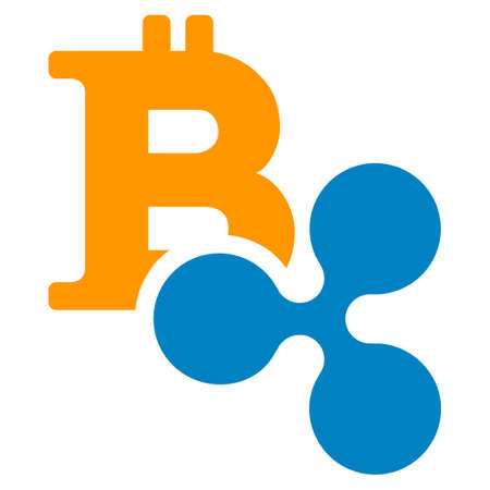 Ripple And Bitcoin flat raster pictogram. An isolated icon on a white background.