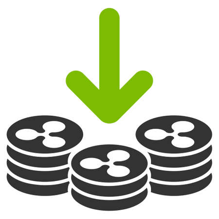 Ripple Coins Income flat raster illustration. An isolated icon on a white background. Stock Photo