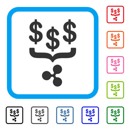 Dollar Ripple Conversion Filter icon. Flat gray pictogram symbol in a blue rounded squared frame. Black, gray, green, blue, red, orange color versions of Dollar Ripple Conversion Filter vector.