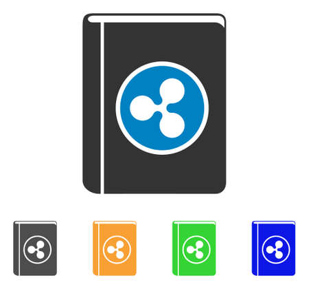 Ripple Book icon. Vector illustration style is a flat iconic ripple book symbol with gray, yellow, green, blue color variants. Designed for web and software interfaces.