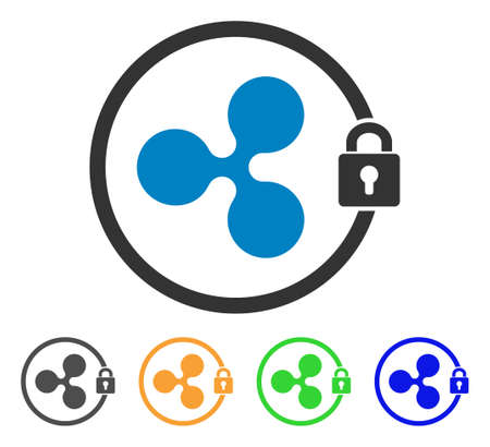Ripple Masternode icon. Vector illustration style is a flat iconic ripple masternode symbol with gray, yellow, green, blue color variants. Designed for web and software interfaces. Illustration