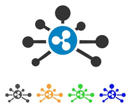 リップルリンクアイコン。ベクトルイラストスタイルは、灰色、黄色、緑、青の色のバリエーションを持つフラットな象徴的なリップルリンクシン  イラスト・ベクター素材