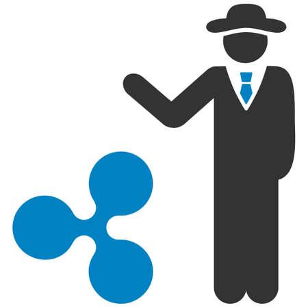 Businessman Show Ripple flat raster icon. An isolated businessman show ripple illustration on a white background. Stock Photo