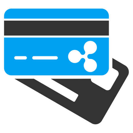 Ripple Banking Cards flat raster icon. An isolated ripple banking cards symbol on a white background. Stock Photo