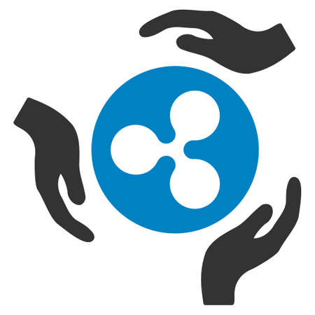 Ripple Care Hands flat raster icon. An isolated ripple care hands pictograph on a white background.
