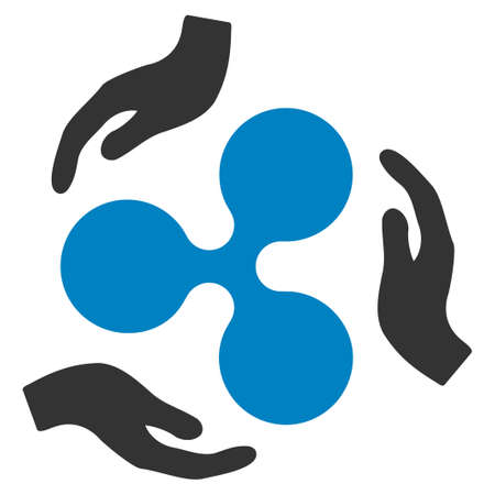 Ripple Care Hands flat raster icon. An isolated ripple care hands illustration on a white background.