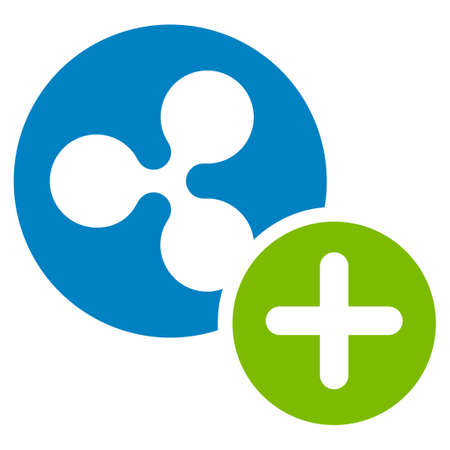 Ripple Coin Add flat raster icon. An isolated ripple coin add illustration on a white background.