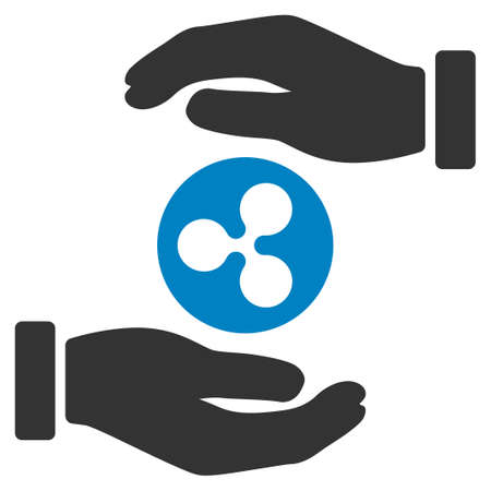Ripple Coin Insurance Hands flat raster icon. An isolated ripple coin insurance hands pictograph on a white background.