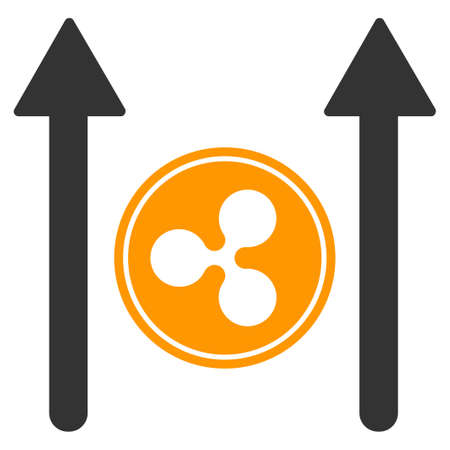 Ripple Coin Send Arrows flat raster icon. An isolated ripple coin send arrows pictograph on a white background. Stock Photo