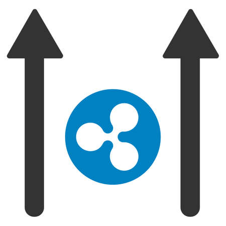 Ripple Coin Send Arrows flat raster icon. An isolated ripple coin send arrows illustration on a white background.