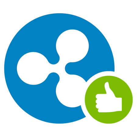 Ripple Coin Thumb Up flat raster icon. An isolated ripple coin thumb up design element on a white background.