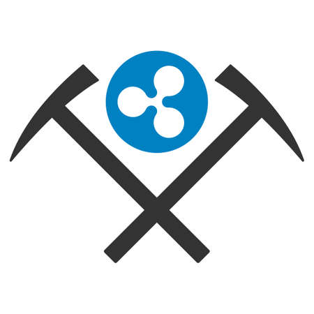 Ripple Mining Hammers flat raster icon. An isolated ripple mining hammers design element on a white background. Фото со стока