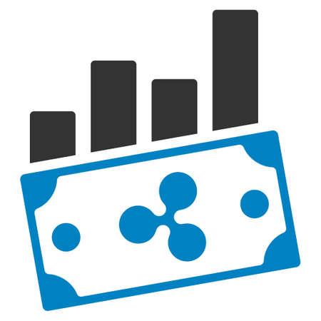 Ripple Money Charts flat raster icon. An isolated ripple money charts symbol on a white background.